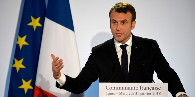 French President Emmanuel Macron delivers a speech to members of the French community in Tunisia, in the capital Tunis on January 31, 2018, during his first state visit to the country. / AFP PHOTO / Eric FEFERBERG        (Photo credit should read ERIC FEFERBERG/AFP/Getty Images)