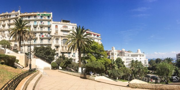 Algiers, Algeria - SEP 25, 2016: French colonial side of the city of Algiers Algeria.Modern city has many old french type buildings