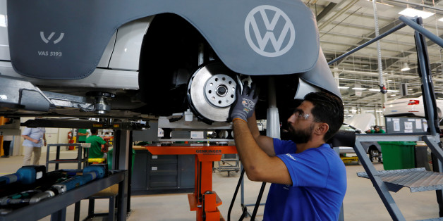 A worker assembles a car at the Volkswagen car assembly unit in Relizane, Algeria July 27, 2017. REUTERS/Zohra Bensemra