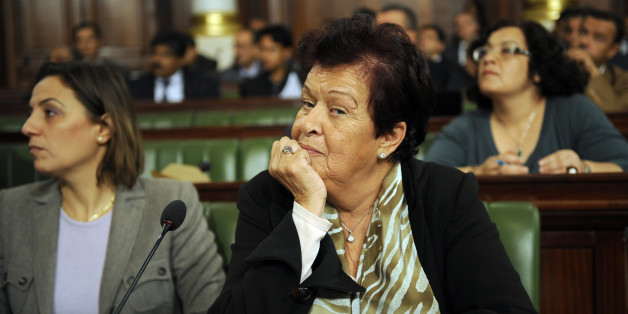 Tunisian film director and deputy Salma Baccar (R) attends during a meeting of the newly-elected constituent assembly at the assembly in Tunis on December 8, 2011. The constituent assembly is to discuss leadership proposals embodied in a 'mini-constitution' which will open the way to forming a government after the elections of October 23. A 217-member constituent assembly must approve the 26-clause document to get state institutions back on the move, a month and a half after Tunisia held its fir