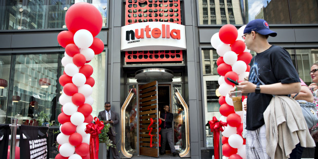 Balloons are displayed outside during the grand opening of the Ferrero SpA Nutella Cafe in Chicago, Illinois, U.S., on Wednesday, May 31, 2017. Ferrero SpA opened its first owned and operated permanent cafe in the world near Chicago's Millennium Park on May 31. Photographer: Daniel Acker/Bloomberg via Getty Images
