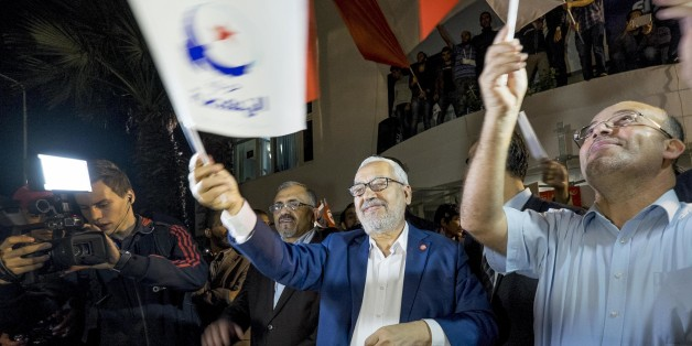 In October 27th, 2014: to the appeal of the party Ennahdha, several hundred activists met after the elections in front of the siege of the party. The leaders of the party thanked the activists for their commitment and for recognizing the defeat by the elections. Rached Ghannouchi, president of the Islamist party thanked the activists in his speech and recognized the defeat. (Photo by Nicolas Fauqu��/Corbis via Getty Images)