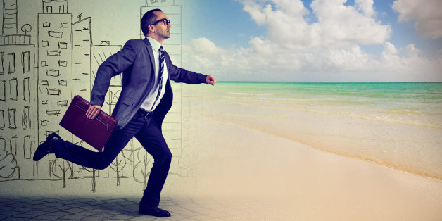 Businessman running away from a busy life in a city to the sunny tropical beach