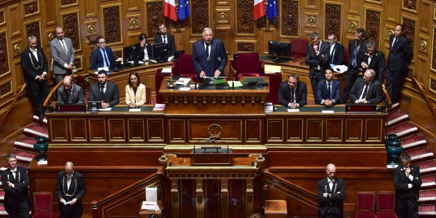 French Senate President, Gerard Larcher (Top C) delivers a speech after being re-elected for a new mandate during the opening of the 2017-2018 ordinary session on October 2, 2017 at the Senate building in Paris.  / AFP PHOTO / CHRISTOPHE ARCHAMBAULT        (Photo credit should read CHRISTOPHE ARCHAMBAULT/AFP/Getty Images)