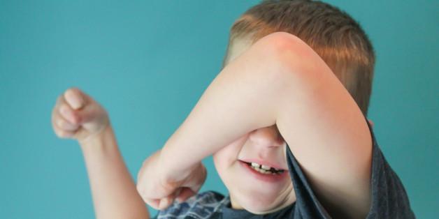 A toddler having a temper tantrum