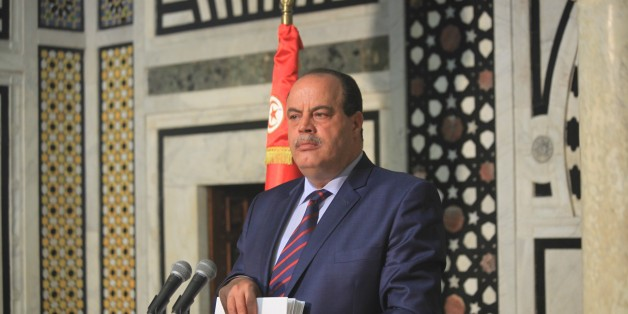 TUNIS, TUNISIA - MAY 05: Tunisian Interior Minister Mohammed Najim Al-Gharsalli holds a press conference at the Government Palace in Kasbah, Tunis, Tunisia on May 05, 2015. (Photo by Yassine Gaidi/Anadolu Agency/Getty Images)