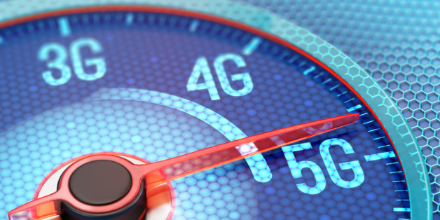 Ultrafast 5G wireless network on display of speedometer. 3D illustration.