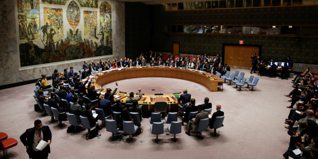 Members of the United Nations Security Council vote for ceasefire to Syrian bombing in eastern Ghouta, at the United Nations headquarters in New York, U.S., February 24, 2018. REUTERS/Eduardo Munoz