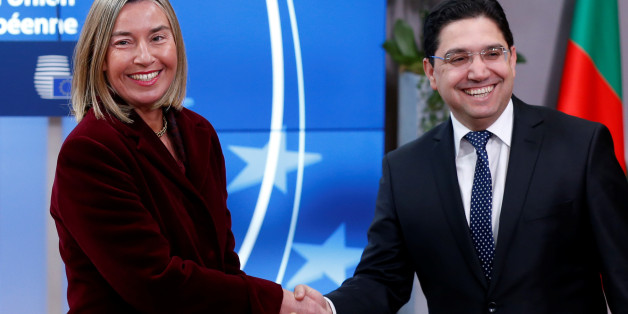 European Union foreign policy chief Federica Mogherini welcomes Morocco's Foreign Minister Nasser Bourita ahead of a meeting to discuss the Middle East peace process, in Brussels, Belgium, February 26, 2018. REUTERS/Francois Lenoir