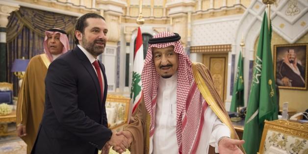 RIYADH, SAUDI ARABIA - FEBRUARY 28: (----EDITORIAL USE ONLY  MANDATORY CREDIT - 'BANDAR ALGALOUD / SAUDI KINGDOM COUNCIL / HANDOUT' - NO MARKETING NO ADVERTISING CAMPAIGNS - DISTRIBUTED AS A SERVICE TO CLIENTS----) Lebanese Prime Minister Saad Hariri (L) meets with Saudi Arabian King Salman bin Abdulaziz Al Saud (R) during his official visit in Riyadh, Saudi Arabia on February 28, 2018.  (Photo by Bandar Algaloud / Saudi Kingdom Council / Handout/Anadolu Agency/Getty Images)