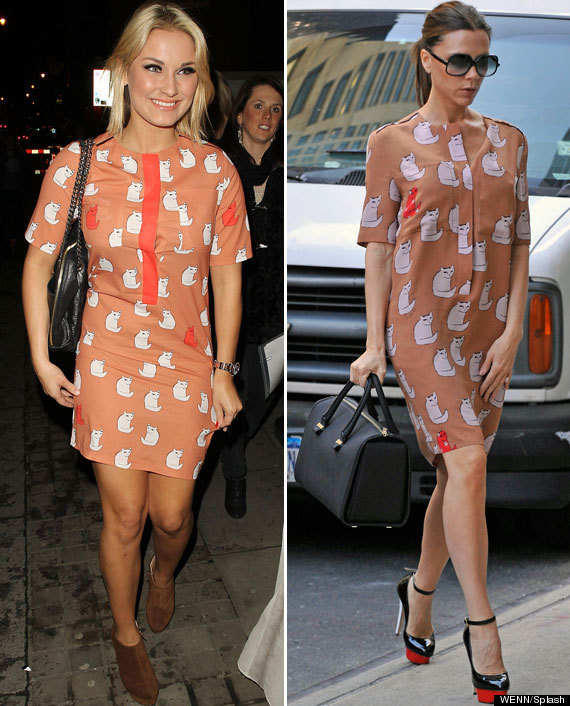 Sam Faiers Sports Faux Victoria Beckham Design Dress On Night Out