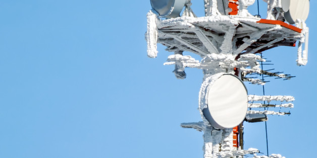radio antenna with snow in winter