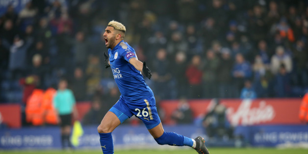 LEICESTER, ENGLAND - MARCH 03: Riyad Mahrez of Leicester City celebrates after scoring to make it 1-1 during the Premier League match between Leicester City and Bournemouth at King Power Stadium, on March 3rd, 2018 in Leicester, United Kingdom  (Photo by Plumb Images/Leicester City FC via Getty Images)