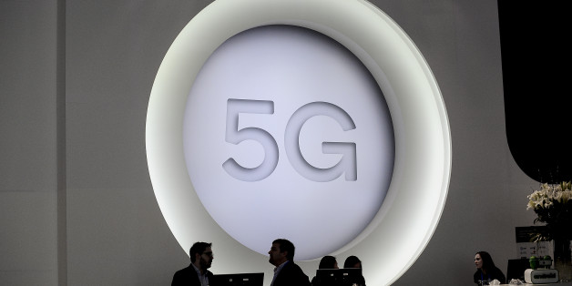 5G logo during the Mobile World Congress day 4, on March 1, 2018 in Barcelona, Spain.  (Photo by Joan Cros/NurPhoto via Getty Images)