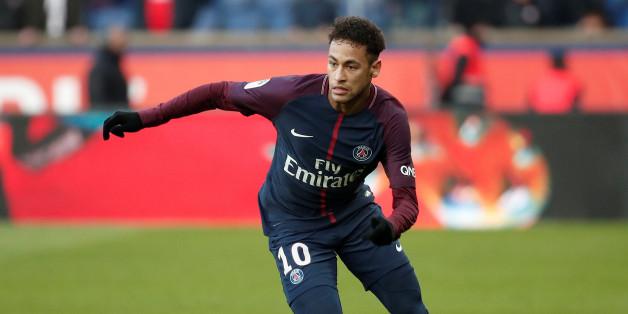 Neymar lors d'un match entre le Paris Saint-Germain et le RC Strasbourg, Parc des Princes, Paris, France, le 17 février 2018.