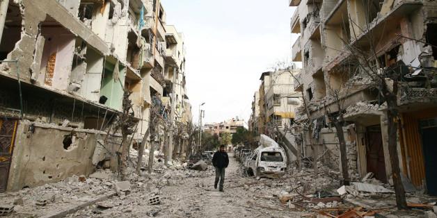 Une rue de Douma, Ghouta orientale, Damas, Syrie, 25 février 2018.