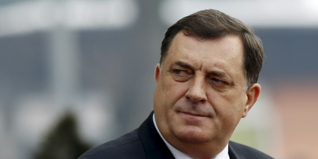 Milorad Dodik, president of the Republika Srpska, looks on during Serbian Prime Minister Aleksandar Vucic's official visit to Banja Luka, Bosnia and Herzegovina, January 9, 2015. Bosnian Serbs organise celebrations of the Statehood Day of their half of Bosnia despite the constitutional court's ruling to change the date for the holiday which was found to discriminate against other ethnic groups because it is also celebrated as an Orthodox holiday. Serbian Prime Minister Vucic and Serbian Orthodox