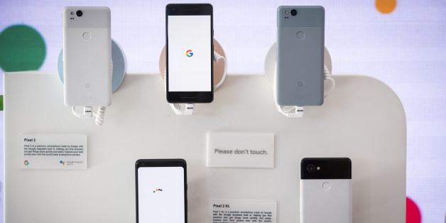 Google Inc. Pixel 2 and Pixel 2 XL smartphones are displayed during the 2018 Consumer Electronics Show (CES) in Las Vegas, Nevada, U.S., on Thursday, Jan. 11, 2018. Electric and driverless cars will remain a big part of this year's CES, as makers of high-tech cameras, batteries, and AI software vie to climb into automakers' dashboards. Photographer: David Paul Morris/Bloomberg via Getty Images