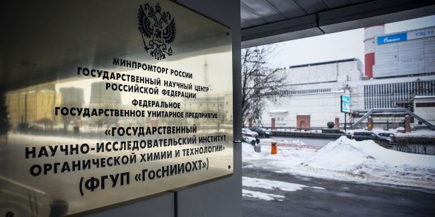 A sign for the State Scientific Research Institute of Organic Chemistry and Technology is seen at the entrance to the institute in Moscow on March 13, 2018.According to several Russian media, the group of nerve agents known as 'Novichok' were allegedly developed by the Soviet scientists of the State Scientific Research Institute of Organic Chemistry and Technology in the 1970s and 1980s. / AFP PHOTO / Alexander NEMENOV        (Photo credit should read ALEXANDER NEMENOV/AFP/Getty Images)