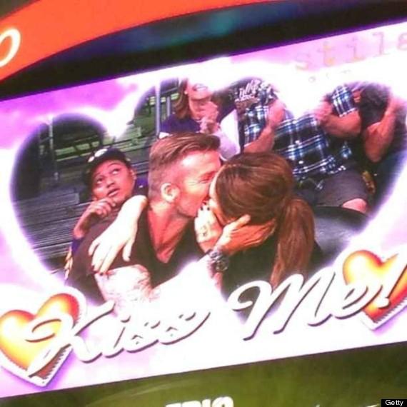 David Beckham Kisses Daughter Harper On 'Kiss Cam' At The Hockey