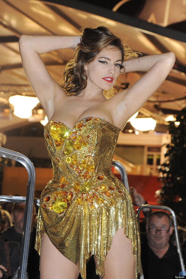 kelly brook photoshoot gold dress