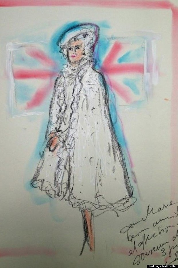diamond jubilee look for queen by karl lagerfeld