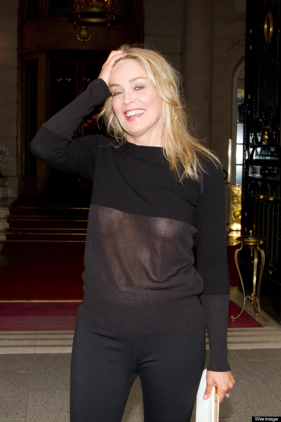 sharon stone suffers a wardrobe malfunction in see through top except she doesn 39 t pics. Black Bedroom Furniture Sets. Home Design Ideas