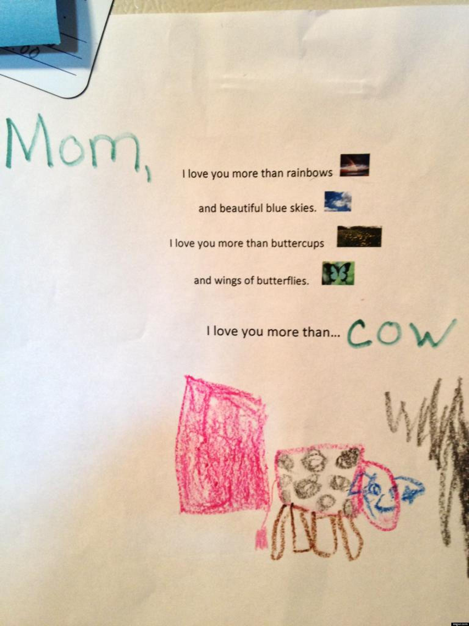 Cute kid note of the day i love you more than cow huffpost voltagebd Gallery