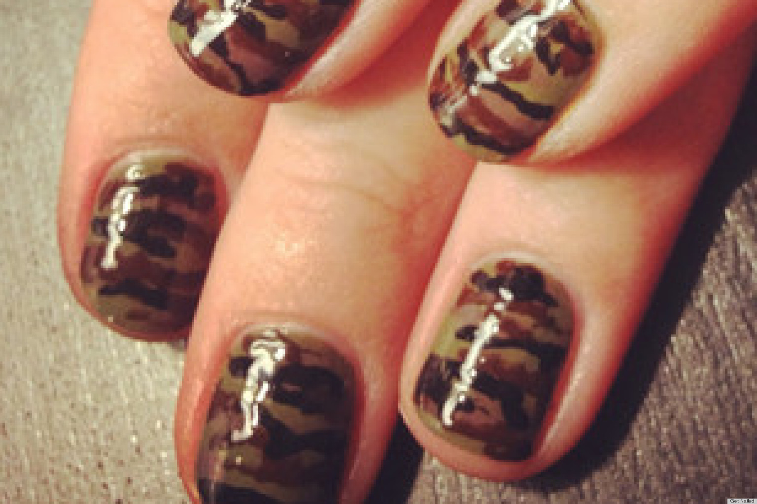 Diy nail art camouflage inspired manicure photo huffpost prinsesfo Choice Image