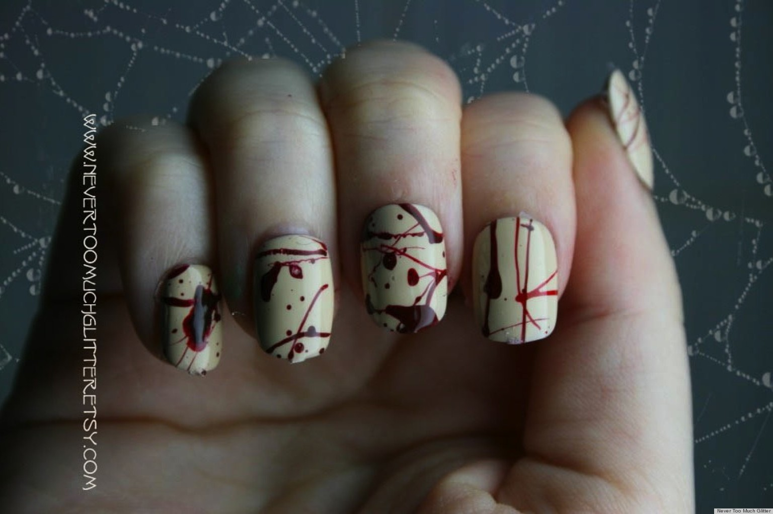 Diy Nail Art Blood Splatter Inspired Manicure Photo Huffpost