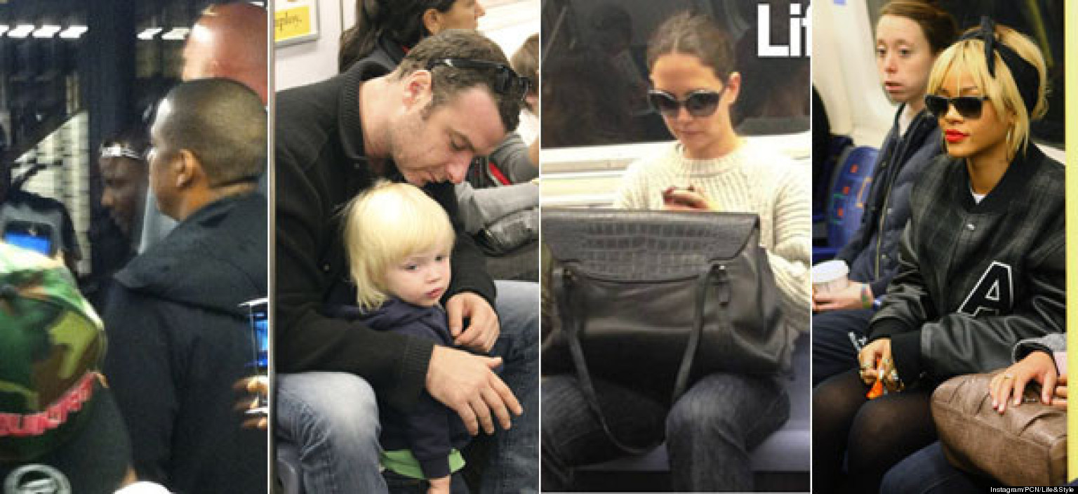 celebrities riding the subway  katie holmes  jay
