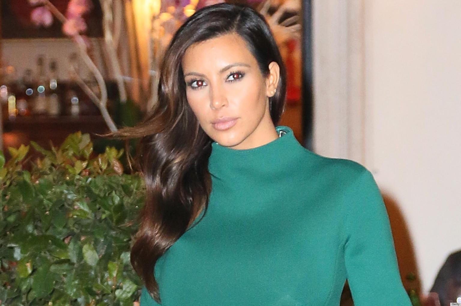 Kim Kardashian\'s Green Peplum Dress Gets An \'A\' For Effort (PHOTOS ...