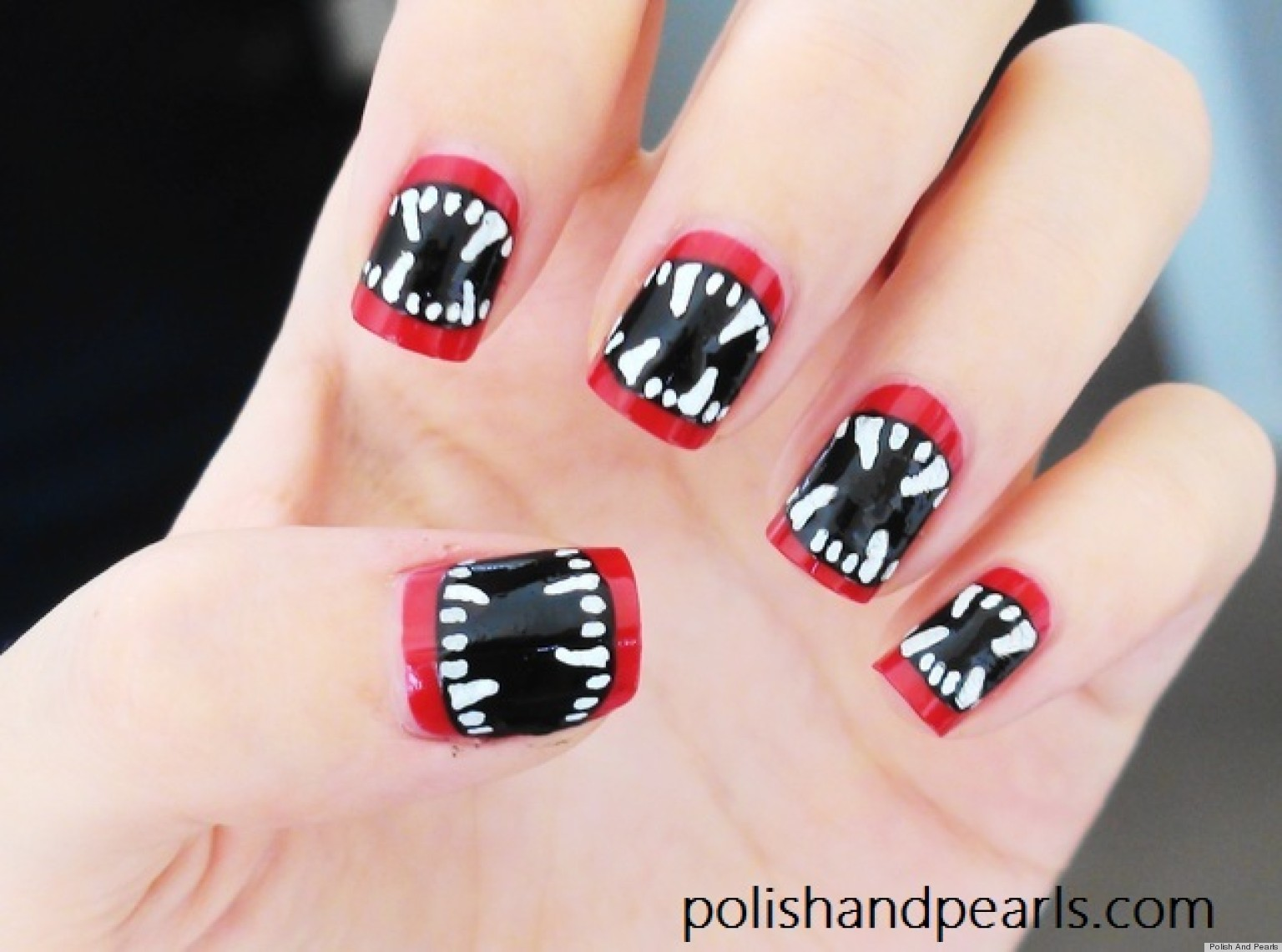 Diy nail art halloween inspired vampire fangs manicure video diy nail art halloween inspired vampire fangs manicure video huffpost prinsesfo Choice Image