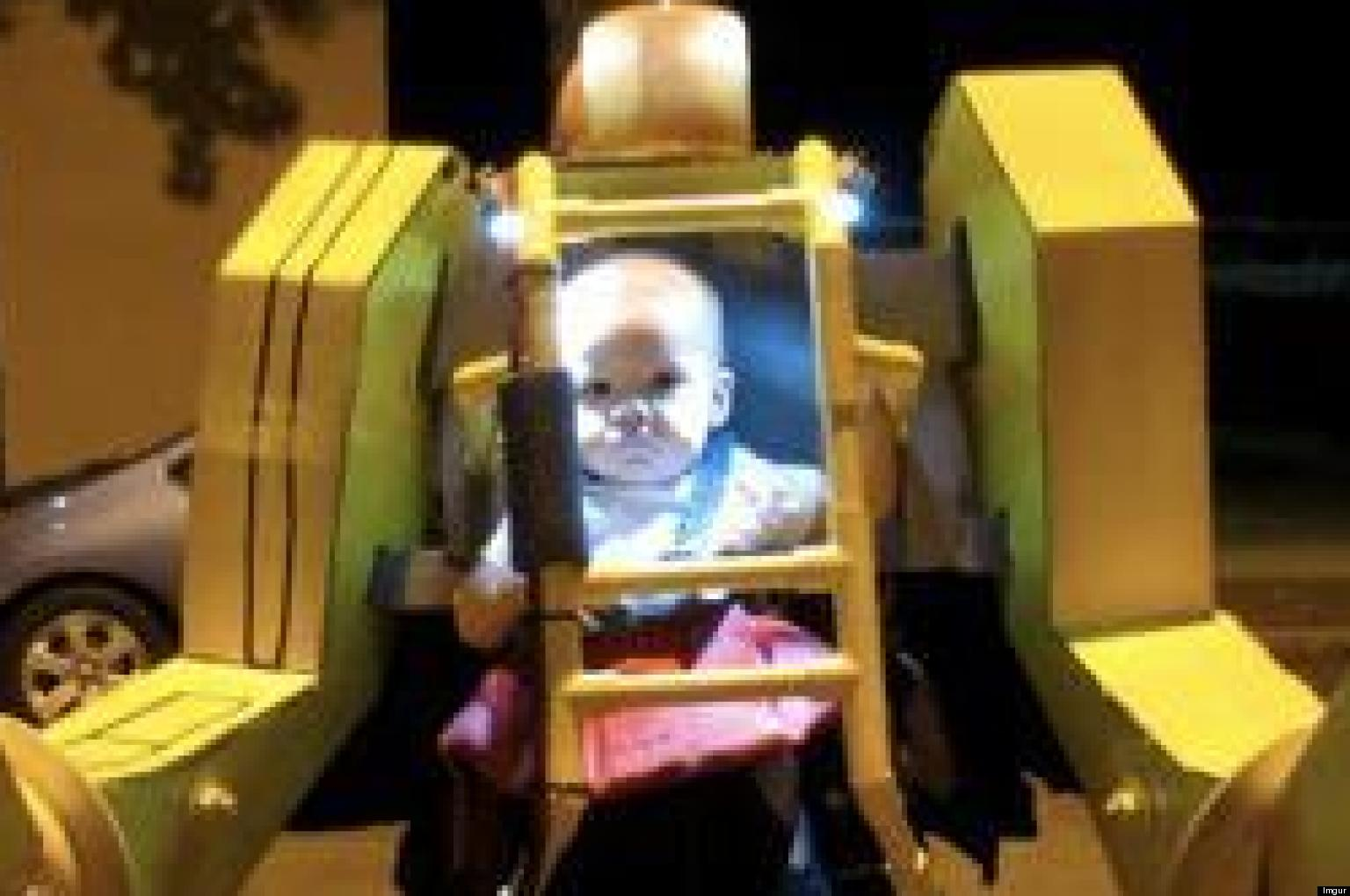 power loader' halloween costume features dad and baby ready to take