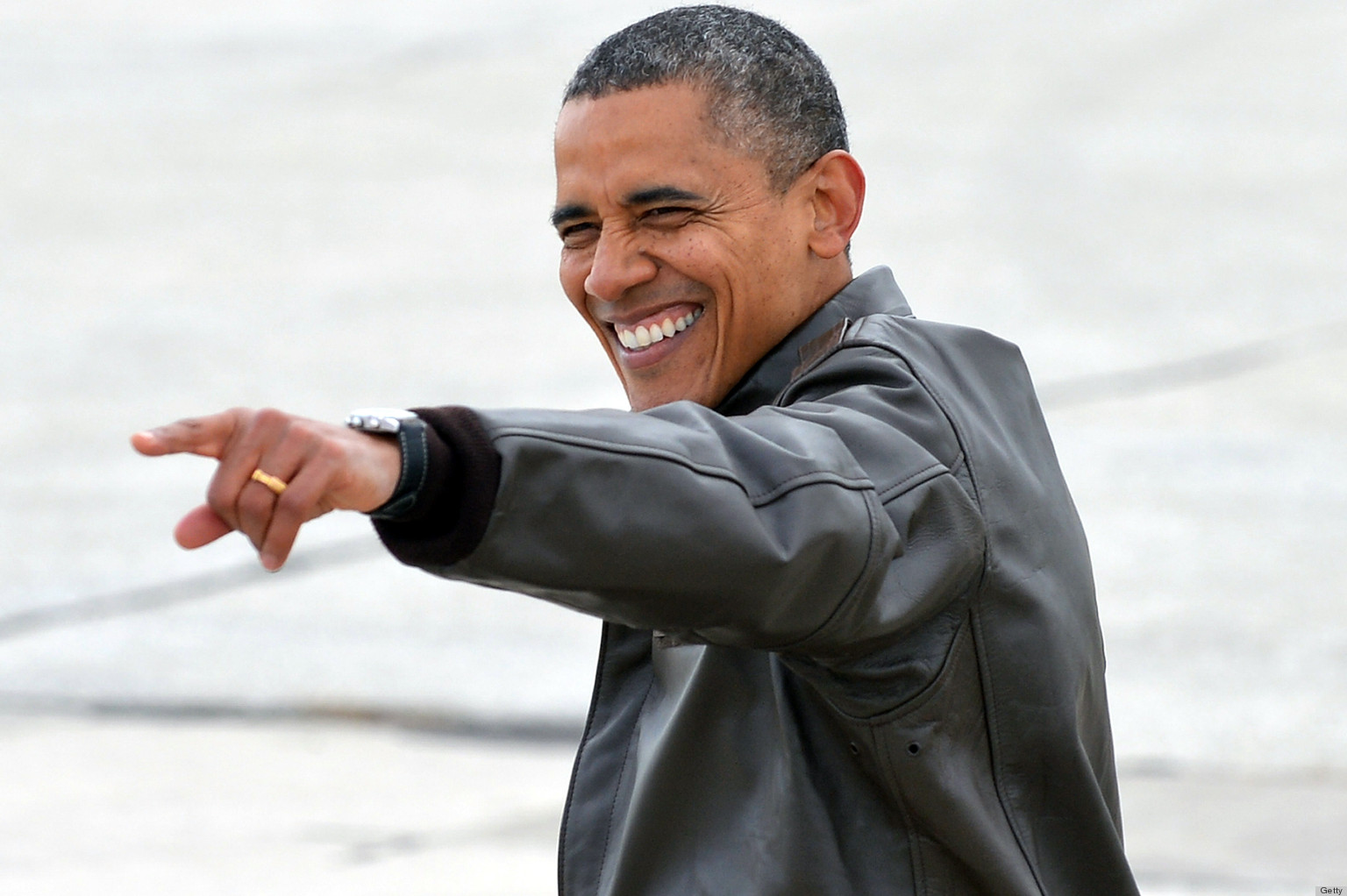 new style 00ed0 0401a Obama s Leather Bomber Jacket Is One Pair Of Aviators Away From  Top Gun   (PHOTOS)   HuffPost