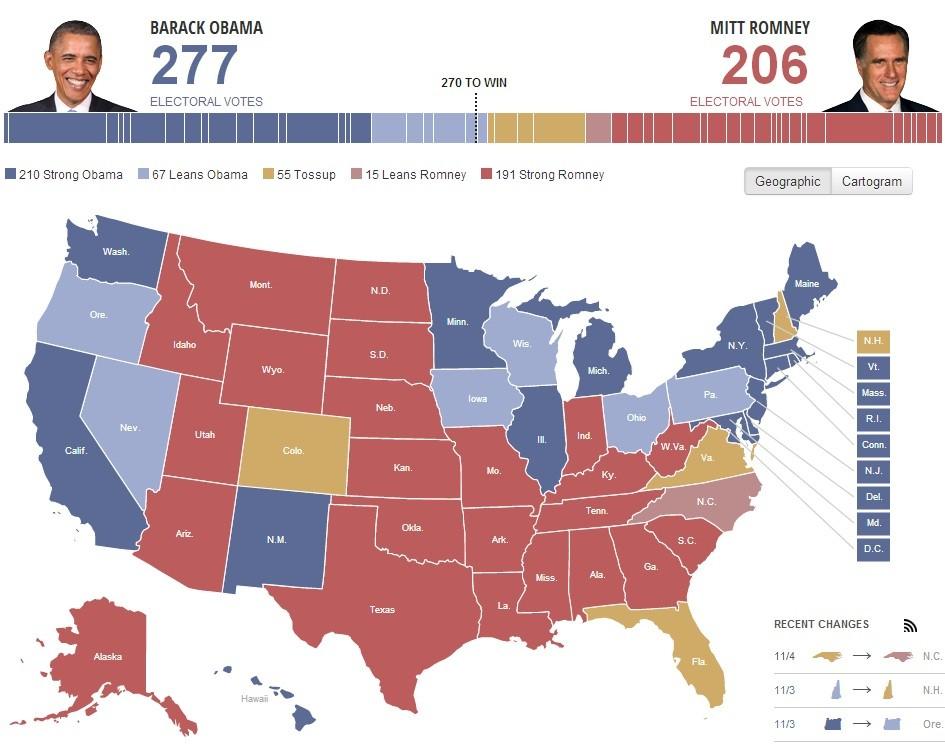 Obama vs. Romney Electoral Map