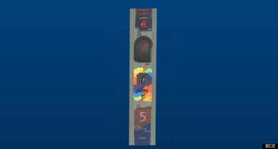 banda holograma billete 5 euros
