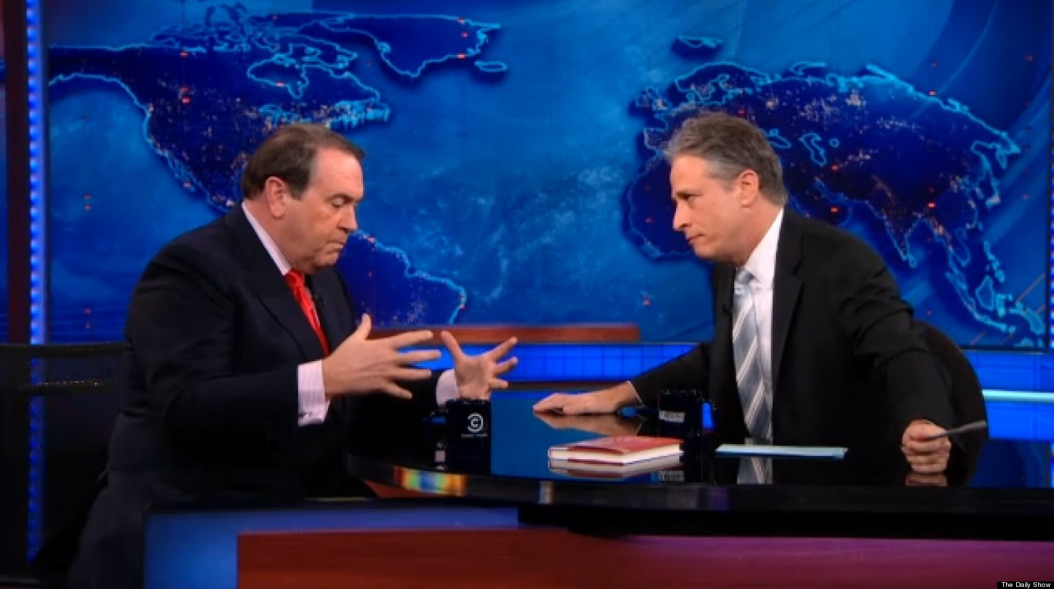 Jon Stewart Mike Huckabee Duke It Out Over Gay Marriage On The Daily Show VIDEO