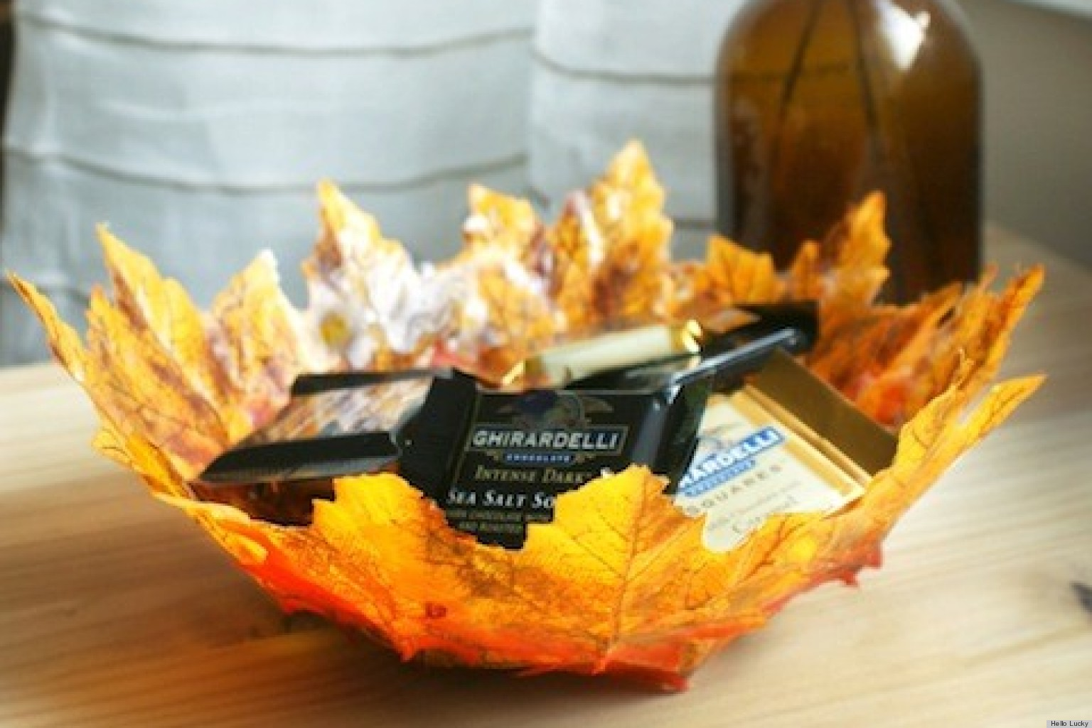 Thanksgiving crafts create autumn leaf bowls huffpost for Unique fall crafts for adults