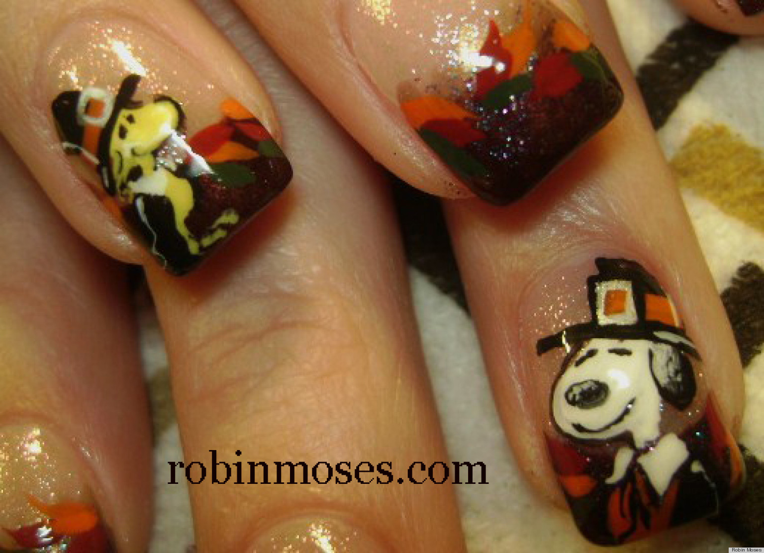 DIY Nail Art: Snoopy And Woodstock Thanksgiving Manicure (VIDEO ...