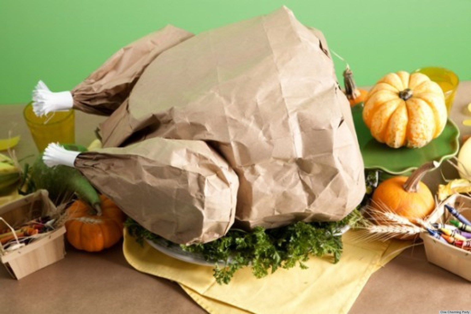 Thanksgiving crafts create a paper bag turkey filled with