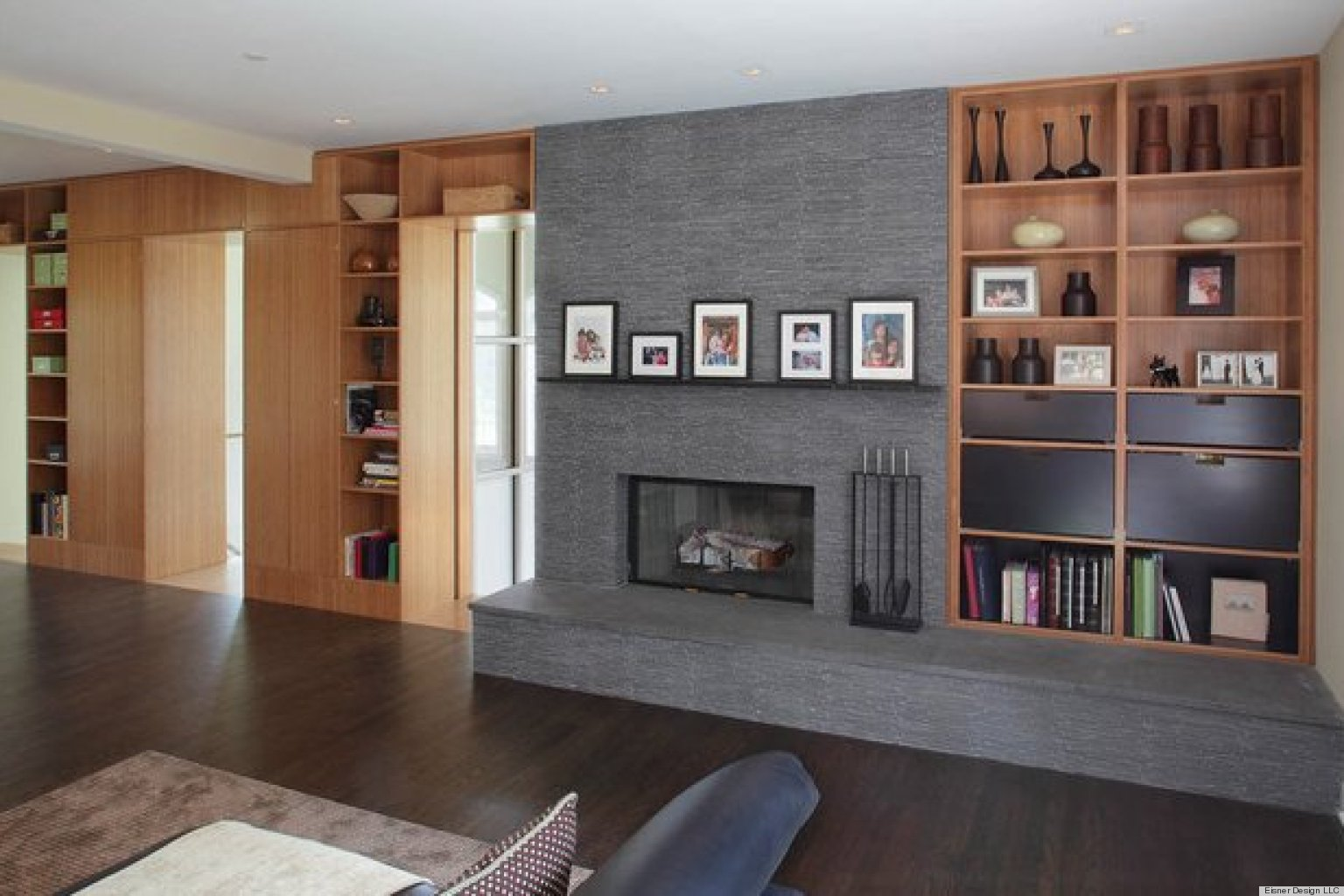 8 artfully asymmetrical fireplaces huffpost. Black Bedroom Furniture Sets. Home Design Ideas
