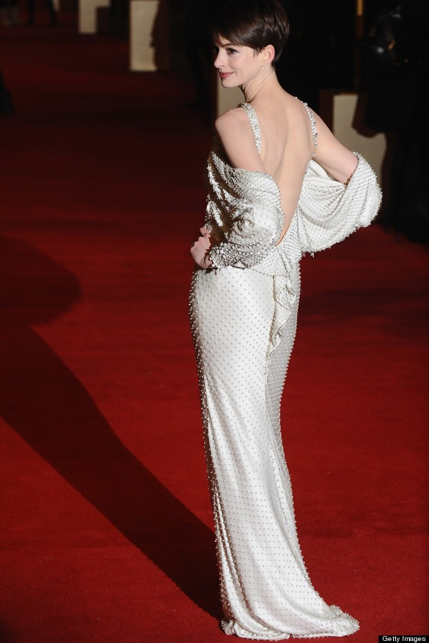 Anne Hathaway Wears Backless Givenchy Gown To Les Miserables World ...