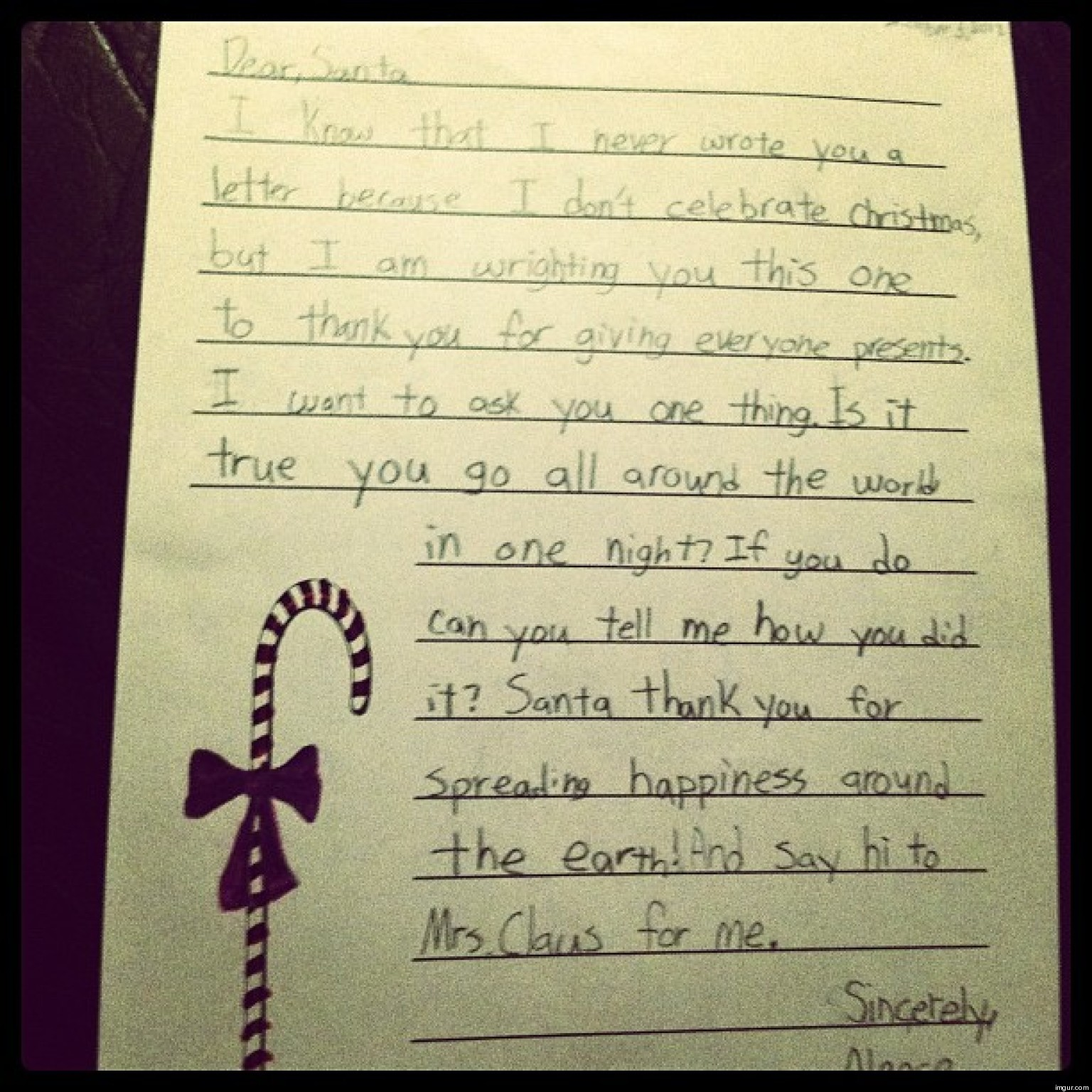 Cute kid note of the day a muslim students letter to santa huffpost spiritdancerdesigns Images