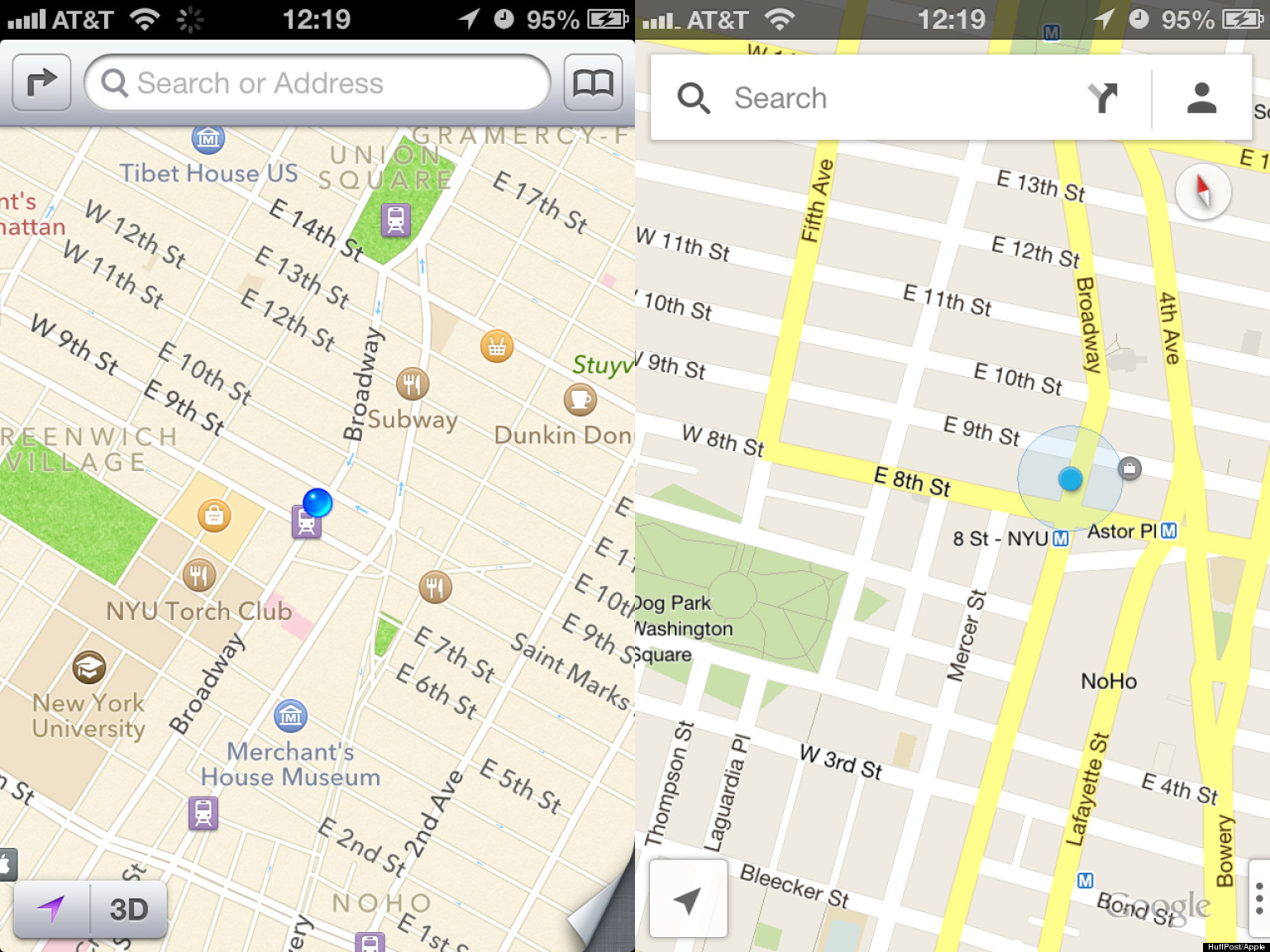 apple maps vs google maps comparing the two map apps for iphone and ios huffpost