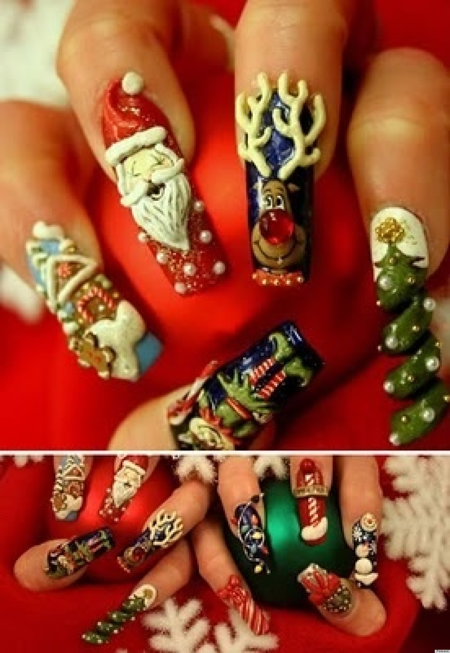 Christmas Nail Art: Santa Claus, Rudolph The Red-Nosed Reindeer And ...