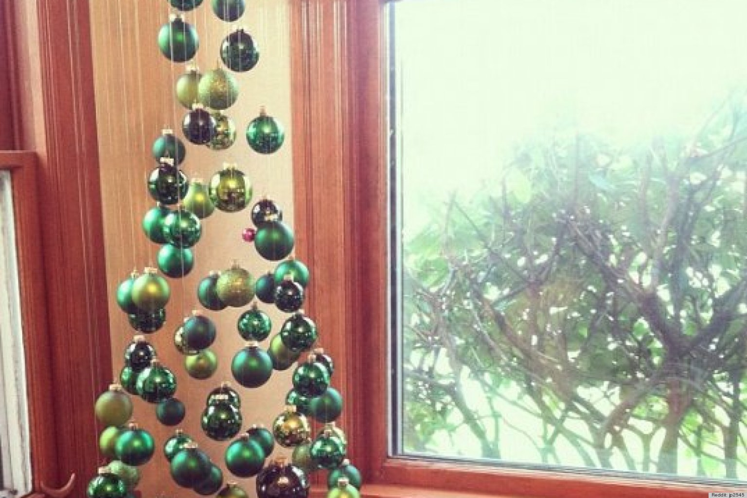 A Christmas Tree Made Of Suspended Ornaments As Seen On Reddit Photo Huffpost