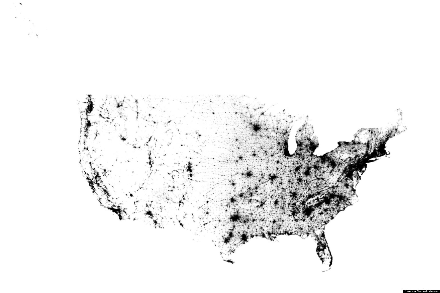 US Dot Map By Brandon MartinAnderson Shows The Population Like - Us census dot map