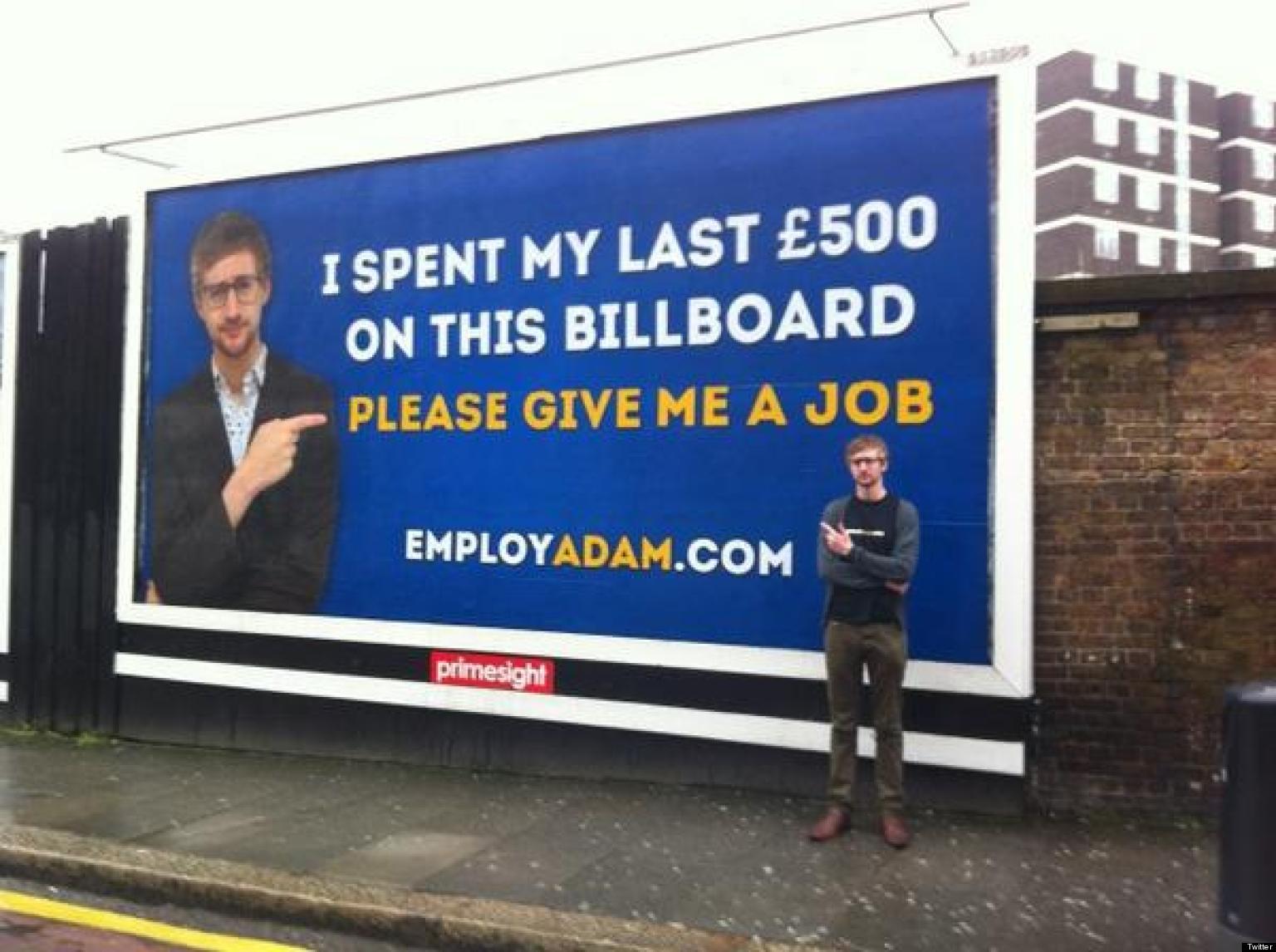 jobseeker adam pacitti spends  u00a3500 on london billboard in