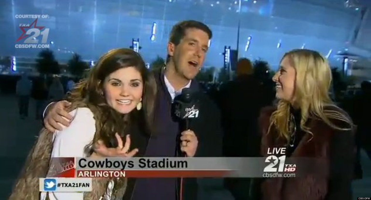 drunk texas a&m girls interrupt live news to yell about johnny
